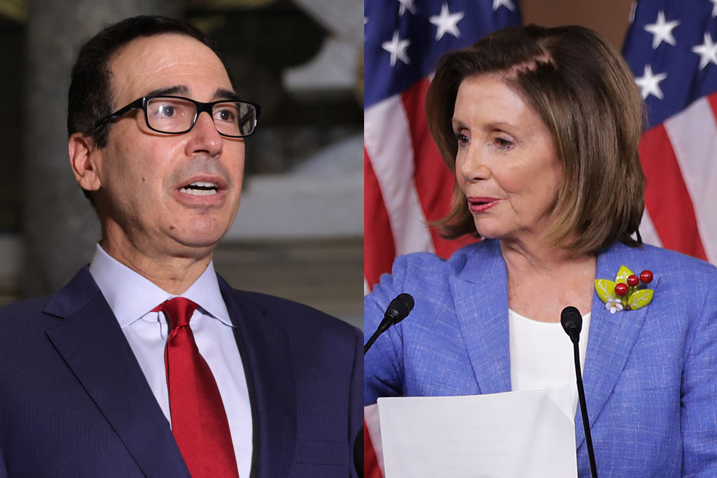 Treasury Secretary Steven Mnuchin and House Speaker Nancy Pelosi (Getty)