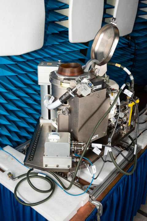 The Universal Waste Management System (UWMS), a new space toilet. The device is scheduled to launch to the International Space Station on Oct. 1, 2020. (James Blair/NASA via AP)