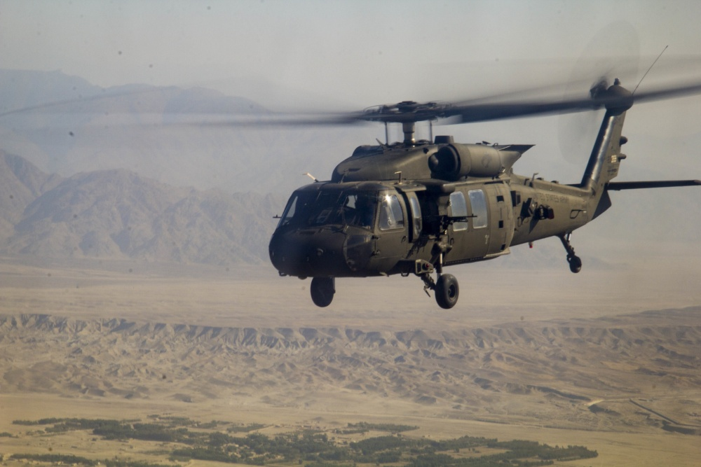 A U.S. Army UH-60 Black Hawk helicopter, assigned to 1st Combat Aviation Brigade, 1st Infantry Division, during a mission in eastern Afghanistan Oct. 23, 2016. (Photo by Capt. Grace Geiger0