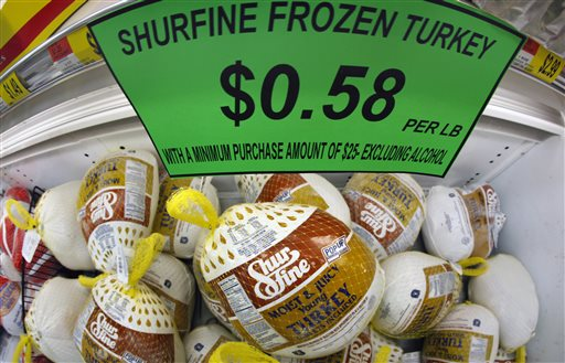 Frozen turkeys on sale at a grocery store in Akron, N.Y. (AP photo/David Duprey, File)