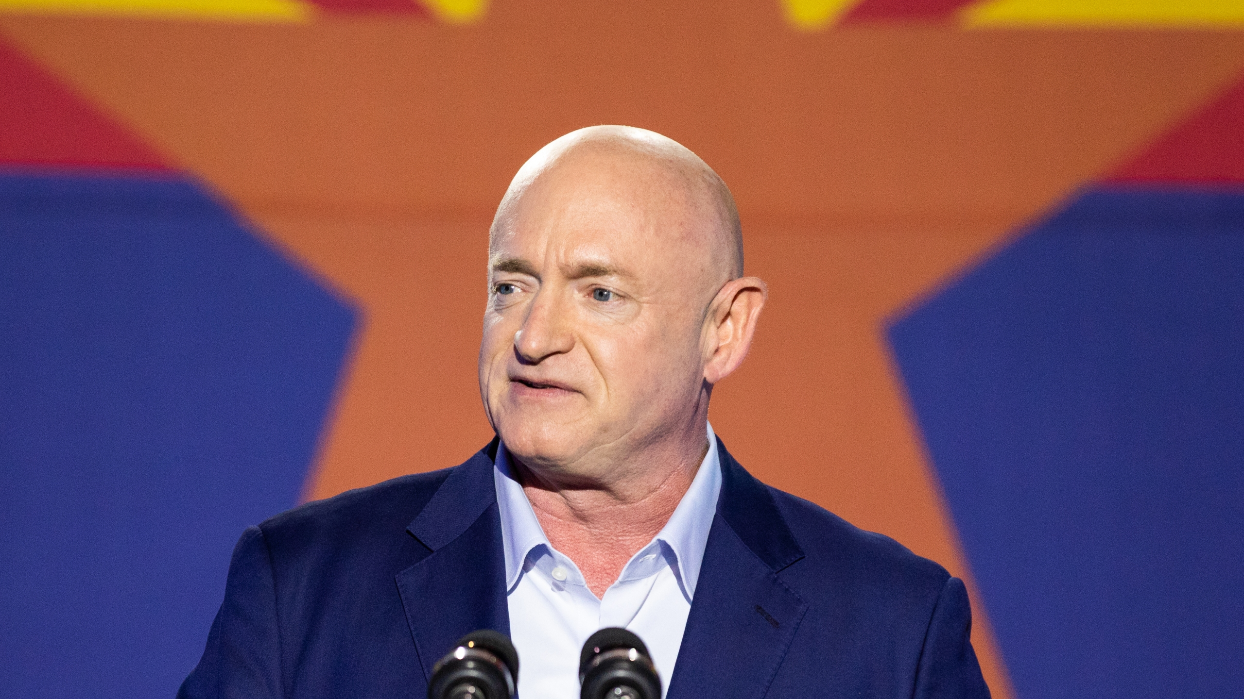 Democratic U.S. Senate candidate Mark Kelly speaks to supporters in Tucson, Arizona. (Photo by Courtney Pedroza/Getty Images)