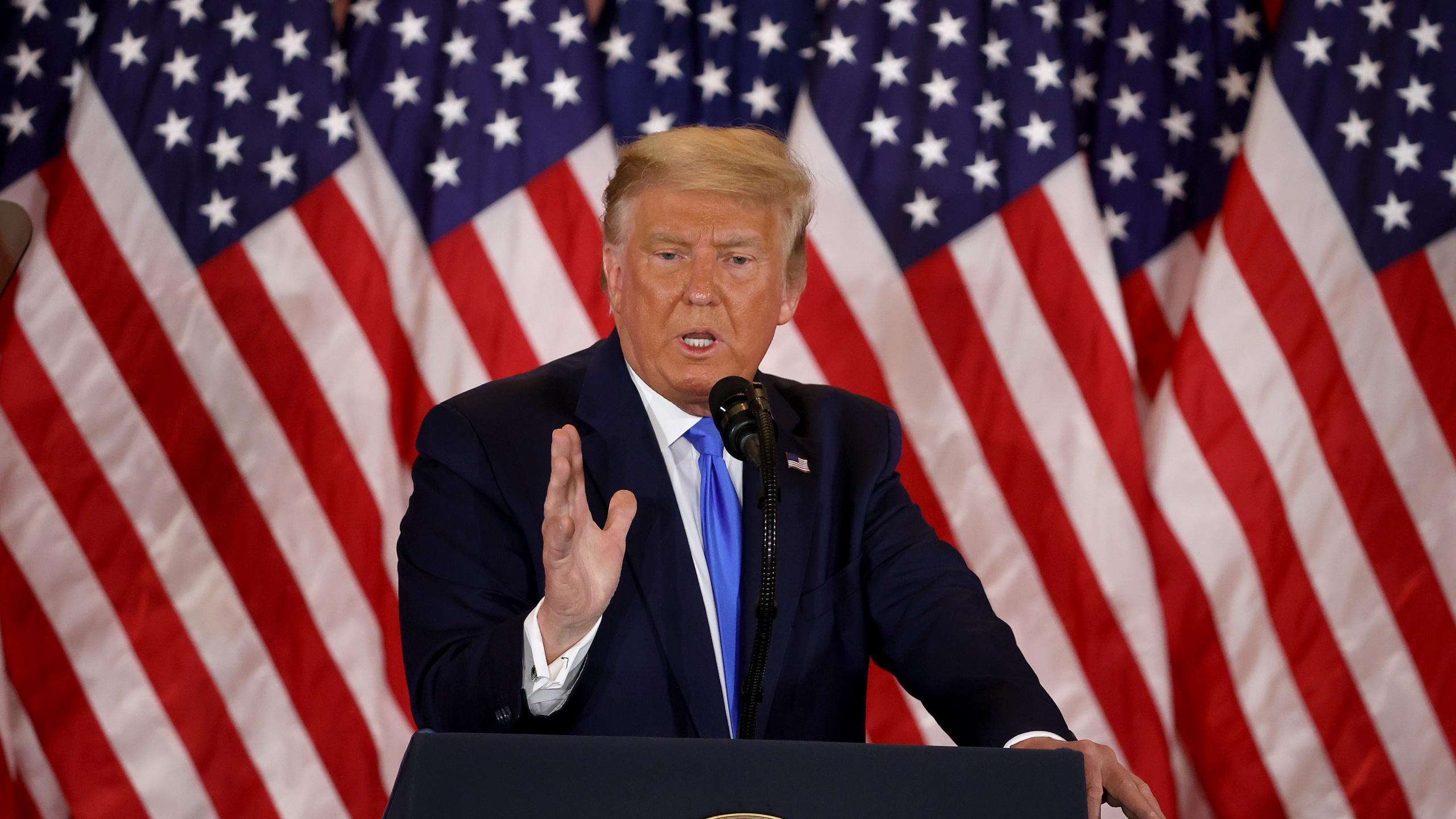 President Donald Trump speaks on election night in the East Room of the White House. Trump spoke shortly after 2am with the presidential race against Democratic presidential nominee Joe Biden still too close to call. (Photo by Chip Somodevilla/Getty Images)