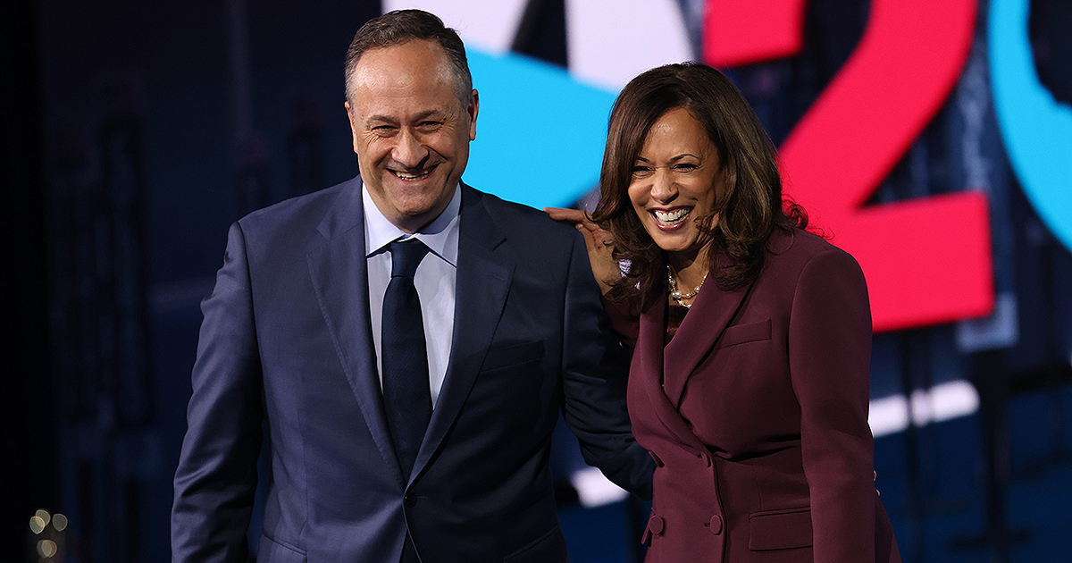 Kamala Harris and her husband Douglas Emhoff appear on stage after Harris delivered her acceptance speech on the third night of the Democratic National Convention in Wilmington, Delaware. (Photo by Win McNamee/Getty Images)