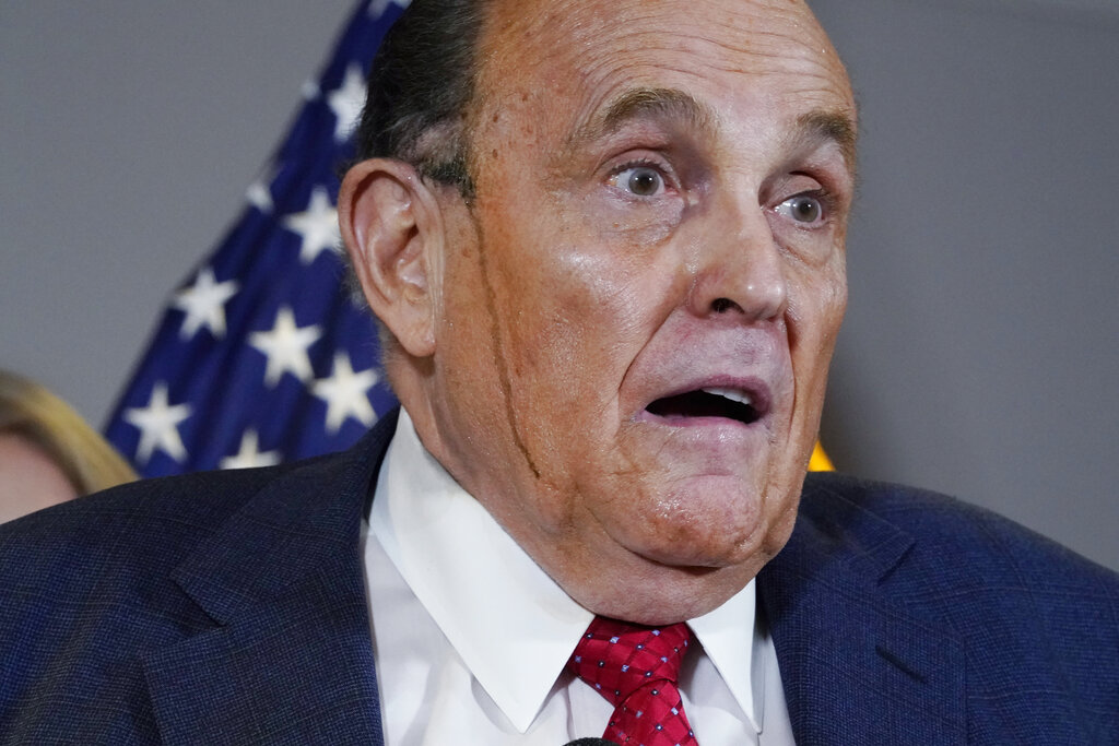 Former Mayor of New York Rudy Giuliani, a lawyer for President Donald Trump, speaks during a news conference at the Republican National Committee headquarters, Thursday Nov. 19, 2020, in Washington. (AP Photo/Jacquelyn Martin)