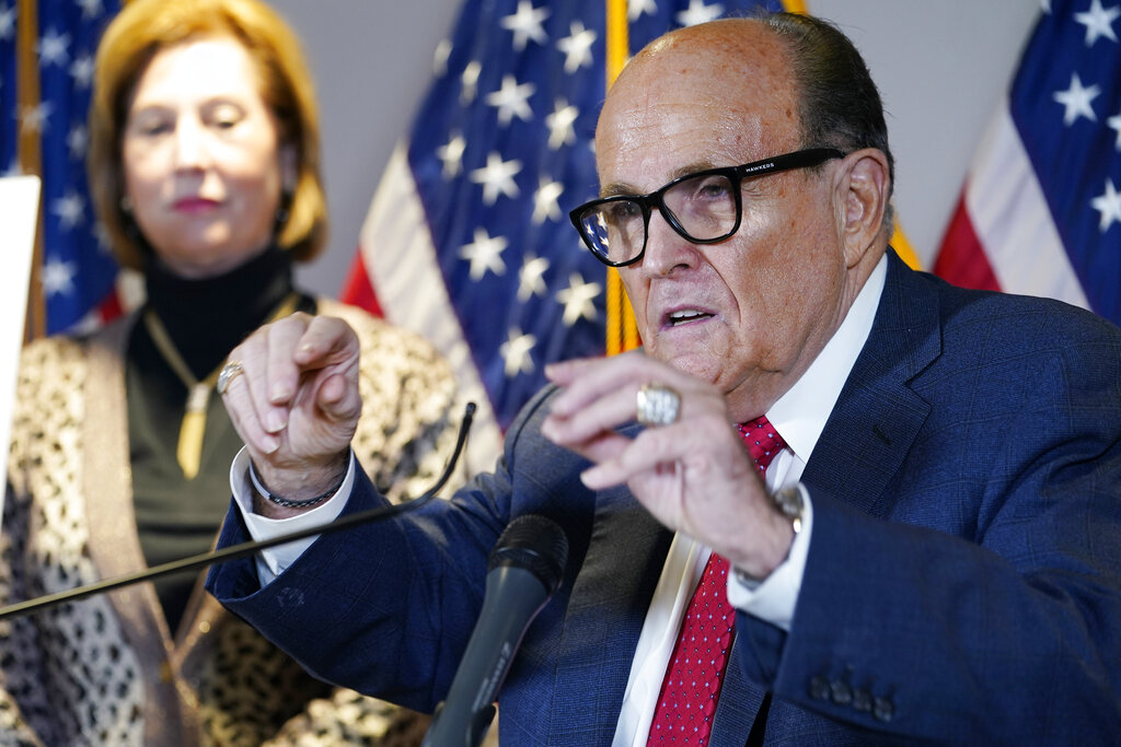 Former Mayor of New York Rudy Giuliani, a lawyer for President Donald Trump, speaks during a news conference at the Republican National Committee headquarters in Washington on Thursday. (AP Photo/Jacquelyn Martin)