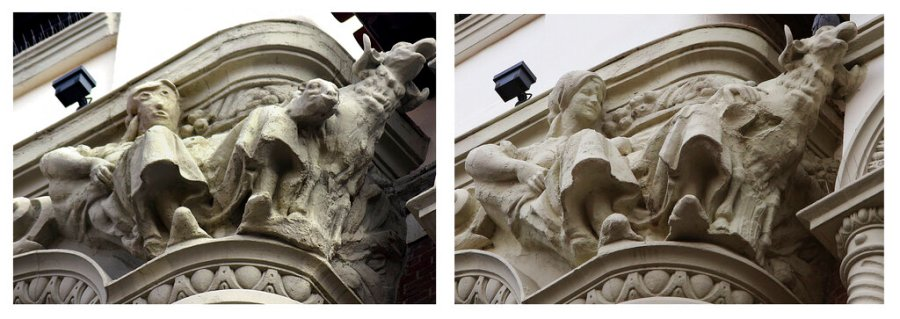 This combo picture shows a sculpture before (right) and after being restored (left) on the exterior of an ornate office building in the city of Palencia, Spain. Restoration work on a sculpture in northern Spain has resurrected memories of a restored Christ fresco in another Spanish city eight years ago that drew ridicule as well as tourists. (AP Photo/Alberto Calleja -left image; Agencia ICAL -right image)