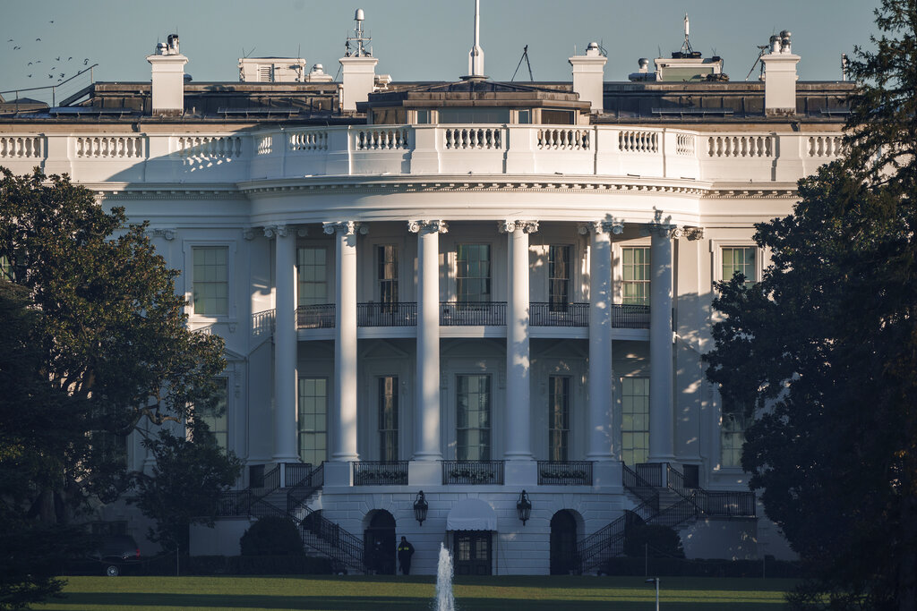 The White House early Sunday morning after incumbent President Donald Trump was defeated by his Democratic challenger, President-elect Joe Biden. (AP Photo/J. Scott Applewhite)