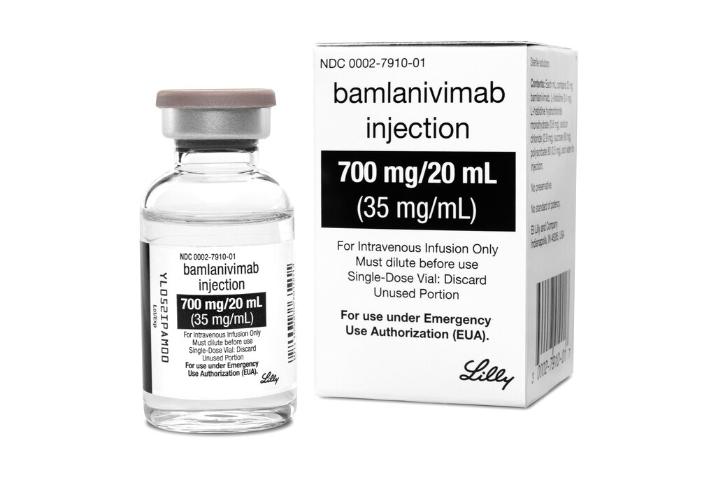 The drug Bamlanivimab, the first antibody drug to help the immune system fight COVID-19. Antibodies are made by the immune system to fight the virus but it can take several weeks after infection for the best ones to form. This and a Regeneron medication aim to help right away, by supplying concentrated doses of one or two antibodies that worked best in lab tests. (Courtesy of Eli Lilly via AP)