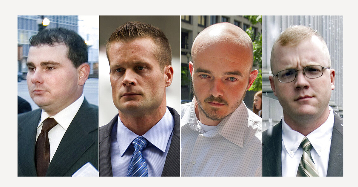 Blackwater guards, from left, Dustin Heard, Evan Liberty, Nicholas Slatten and Paul Slough. On Tuesday, President Donald Trump pardoned 15 people, including Heard, Liberty, Slatten and Slough, the four former government contractors convicted in a 2007 massacre in Baghdad that left more a dozen Iraqi civilians dead and caused an international uproar over the use of private security guards in a war zone. (AP Photo/File)