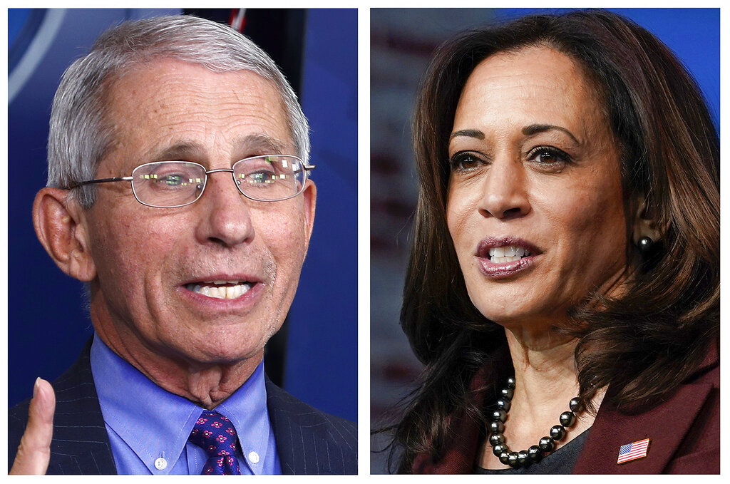 Dr. Anotny Fauci, left, Director of the National Institute of Allergy and Infectious Diseases at the National Institutes of Health, and Vice President-elect Kamala Harris, right. Their names are listed among others atop this year's list of most mispronounced words, as complied by the U.S. Captioning Company, which captions and subtitles real-time events on TV and in courtrooms. (AP Photos/File)