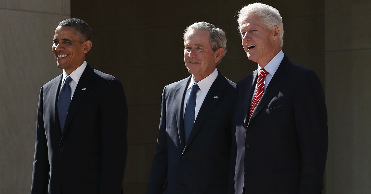Former President Barack Obama, former President George W. Bush and former President Bill Clinton attend the opening ceremony of the George W. Bush Presidential Center April 25, 2013 in Dallas, Texas. (Photo by Alex Wong/Getty Images)