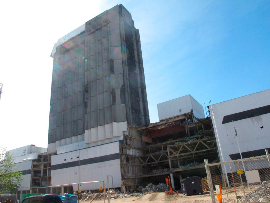 This Oct. 1, 2020 photo shows the partially demolished Trump Plaza casino in Atlantic City, N.J. On Dec. 16, 2020, the city announced it would auction off the right to push the button to dynamite the remainder of the casino next month as a means to raise money for a local youth charity. (AP Photo/Wayne Parry)