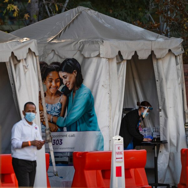Medical tents for vaccinations are set outside the Children's Hospital Los Angeles. While shipments of the vaccine are rolling out to many health care workers and nursing homes across the country, it could be months before it's available for the general public. (AP Photo/Damian Dovarganes, File)
