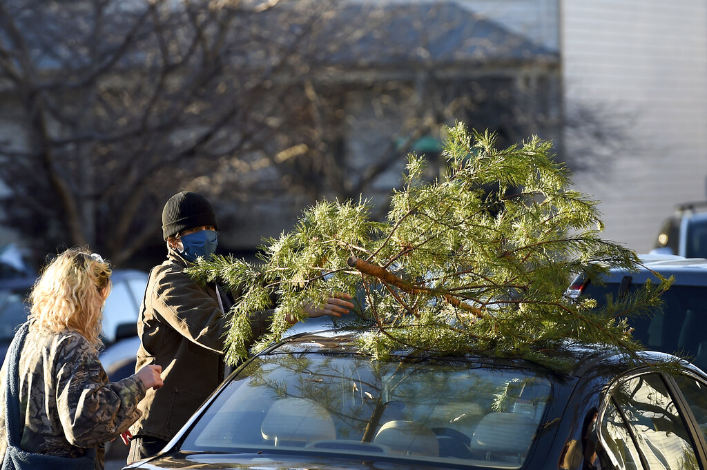 Parker Vivier and Marsden Olsen prepare to tie their tree to their car after purchasing from Frank Pichel's tree lot, Sunday, Dec. 6, 2020, in Richmond. (AP Photo/Will Newton)