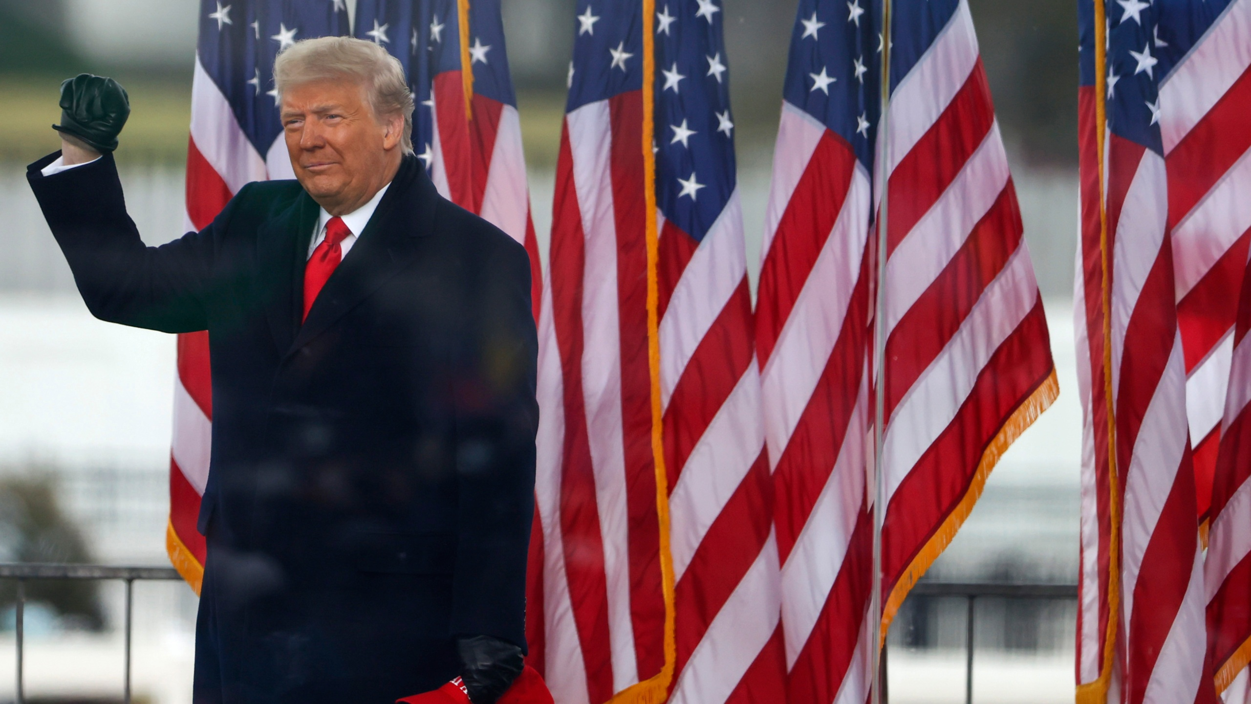"""President Donald Trump arrives at the """"Stop The Steal"""" Rally on January 06, 2021 in Washington, DC. (Photo by Tasos Katopodis/Getty Images)"""