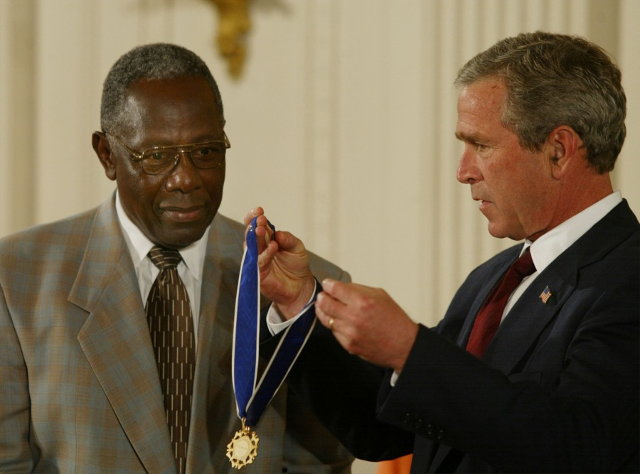 Hank Aaron and George Bush