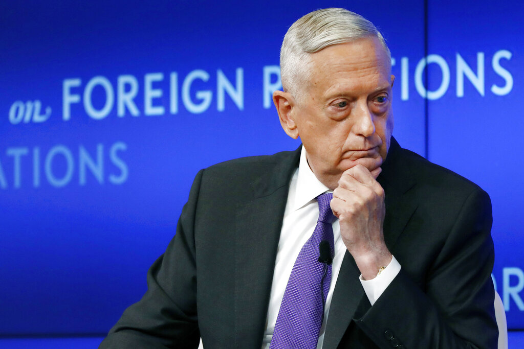 Former U.S. Secretary of Defense Jim Mattis listens to a question during an appearance at the Council on Foreign Relations in New York. All 10 living former secretaries of defense, including Mattis, have joined in cautioning against any attempt to use the military in the cause of overturning the November 2020 presidential election. (AP Photo/Richard Drew, File)