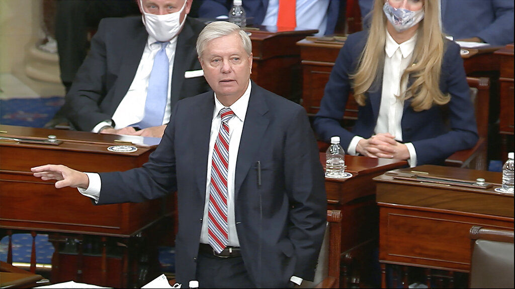 Sen. Lindsey Graham, R-S.C., speaks as the Senate reconvenes to debate the objection to confirm the Electoral College Vote from Arizona, after protesters stormed into the U.S. Capitol on Wednesday, Jan. 6, 2021. (Senate Television via AP)