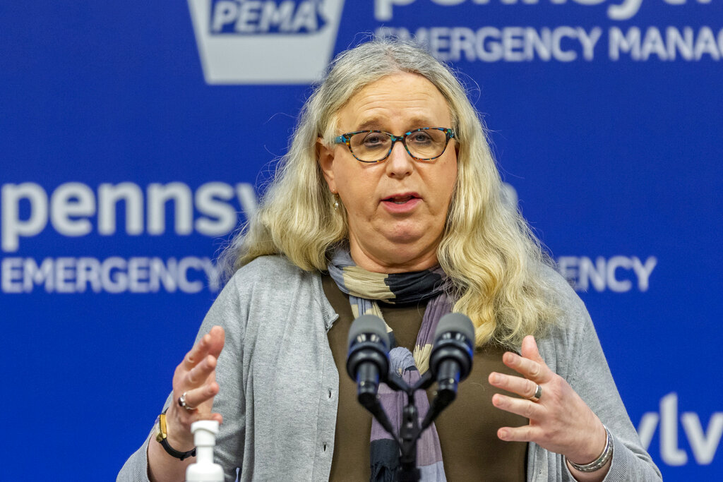Pennsylvania Secretary of Health Dr. Rachel Levine meets with the media at the Pennsylvania Emergency Management Agency (PEMA) headquarters in Harrisburg, Pa. in May 2020. President-elect Joe Biden has tapped Levine to be his assistant secretary of health, leaving her poised to become the first openly transgender federal official to be confirmed by the U.S. Senate. (Joe Hermitt/The Patriot-News via AP, File)