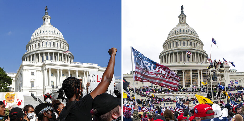 Demonstrators, left, protest in June in front of the U.S. Capitol over the death of George Floyd. Supporters of President Donald Trump, right, rally at same location on Jan. 6 2020. (AP Photos)