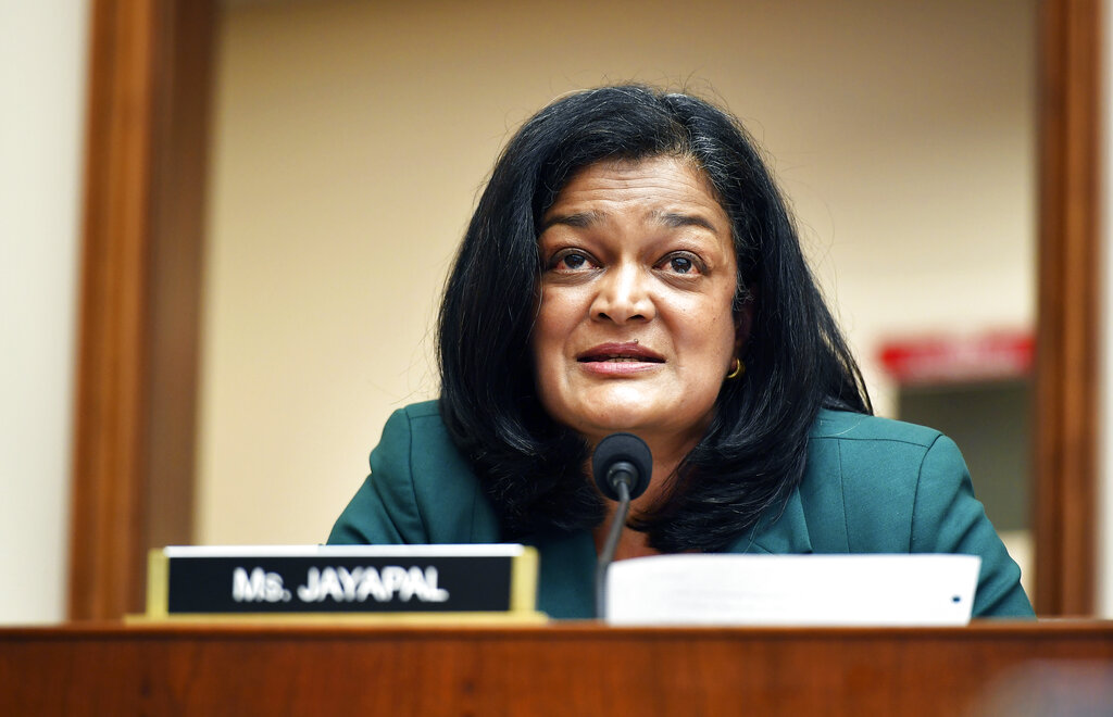 Rep. Pramila Jayapal, D-Wash., speaks during a House Judiciary subcommittee on antitrust on Capitol Hill on Wednesday, July 29, 2020, in Washington. (Mandel Ngan/Pool via AP)
