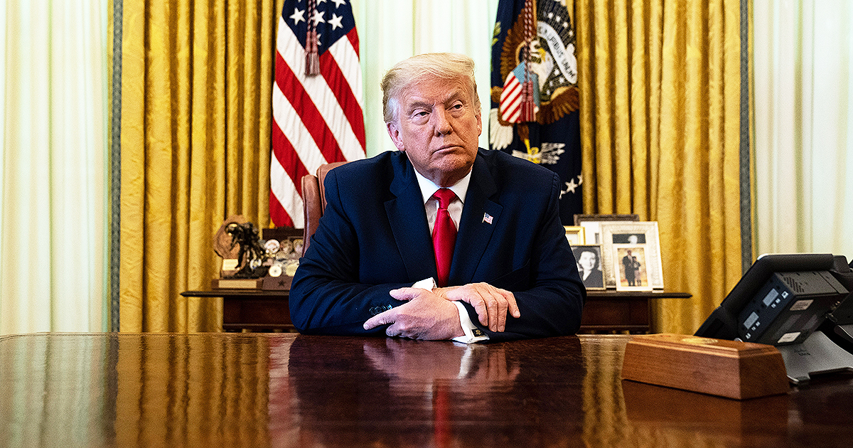 President Donald Trump listens during an event in the Oval Office on August 28, 2020. (Photo by Anna Moneymaker/Pool/Getty Images)
