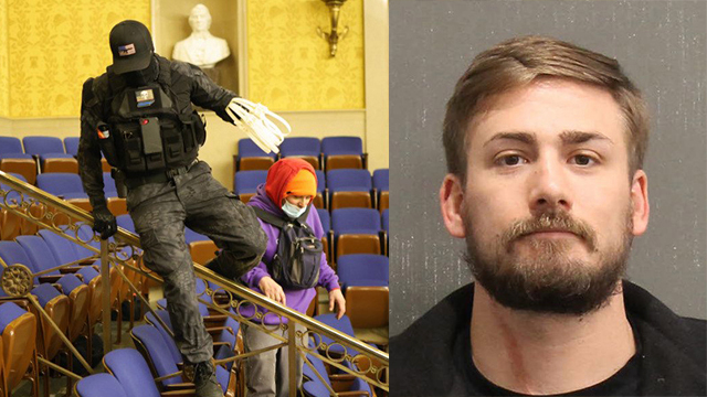Eric Gavelek Munchel, 30, was charged with one count of knowingly entering or remaining in any restricted building or grounds without lawful authority, and one count of violent entry and disorderly conduct on Capitol grounds.(Getty/Metro Nashville Police Department)