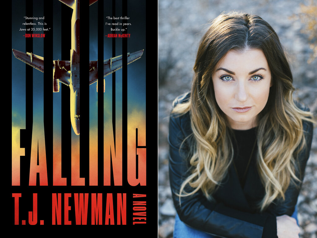 """The cover of """"Falling,"""" a novel by T.J. Newman, left. A former bookseller and flight attendant who conjured fictional nightmares during breaks on cross country red-eyes has a 7-figure deal for two novels. The Simon & Schuster imprint Avid Reader announced Thursday that Newman's first book, the thriller """"Falling,"""" comes out in July. (Avid Reader Press, left, and Melissa Young via AP)"""