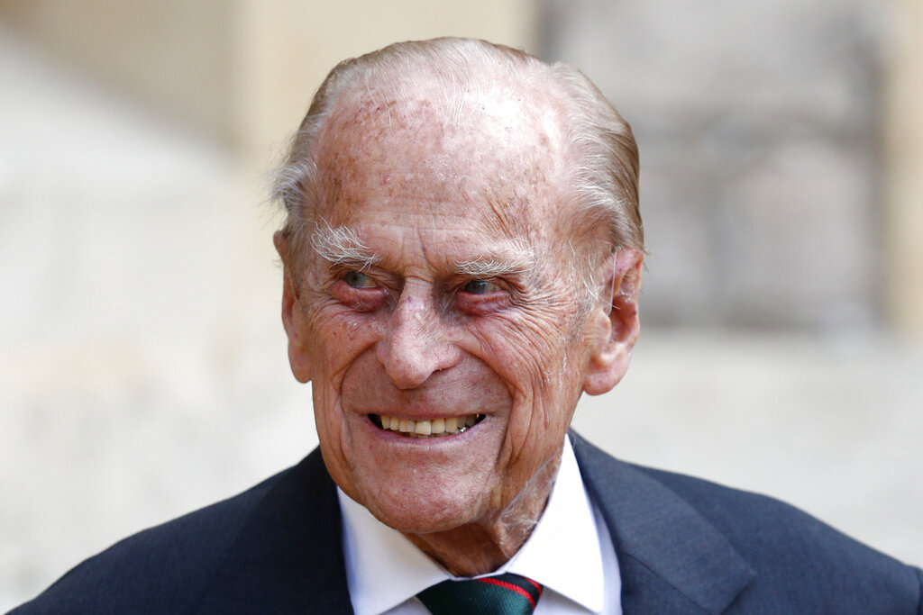 Prince Philip arrives for a ceremony for the transfer of the Colonel-in-Chief of the Rifles from himself to Camilla, Duchess of Cornwall, at Windsor Castle in July 2020. Buckingham Palace says 99-year-old Prince Philip has been admitted to a London hospital after feeling unwell. (Adrian Dennis/Pool via AP, File)