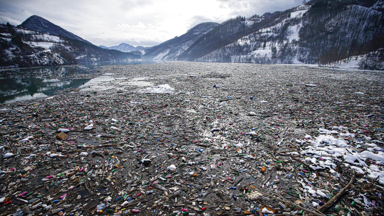 Garbage in lake