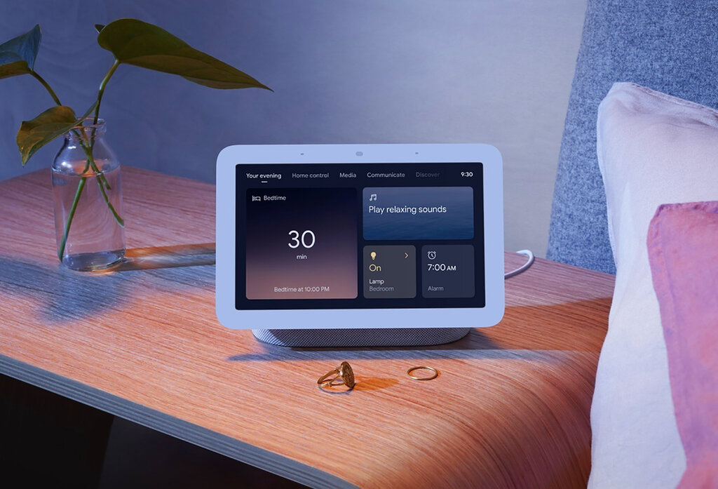 Sleep-sensing technology will be a key feature on Google's next generation of its Nest Hub, a 7-inch display unveiled Tuesday, March 16, 2021. (Google via AP)