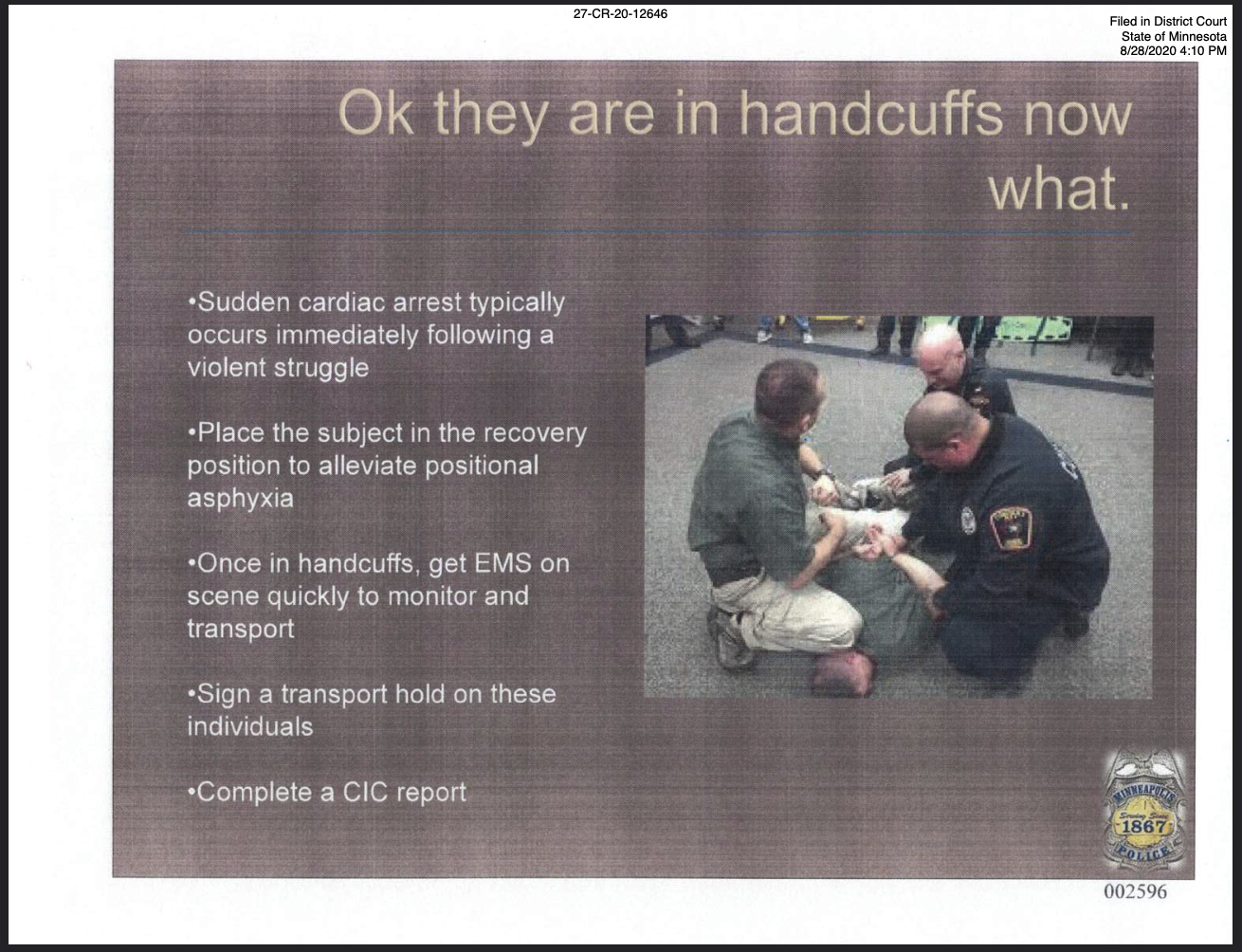 This image submitted by Derek Chauvin's defense team shows a page from Minneapolis Police Department training materials. Former Minneapolis police Officer Derek Chauvin is on trial at the Hennepin County Courthouse in Minneapolis for the May 25, 2020 death of George Floyd. (Minneapolis Police Department via AP)