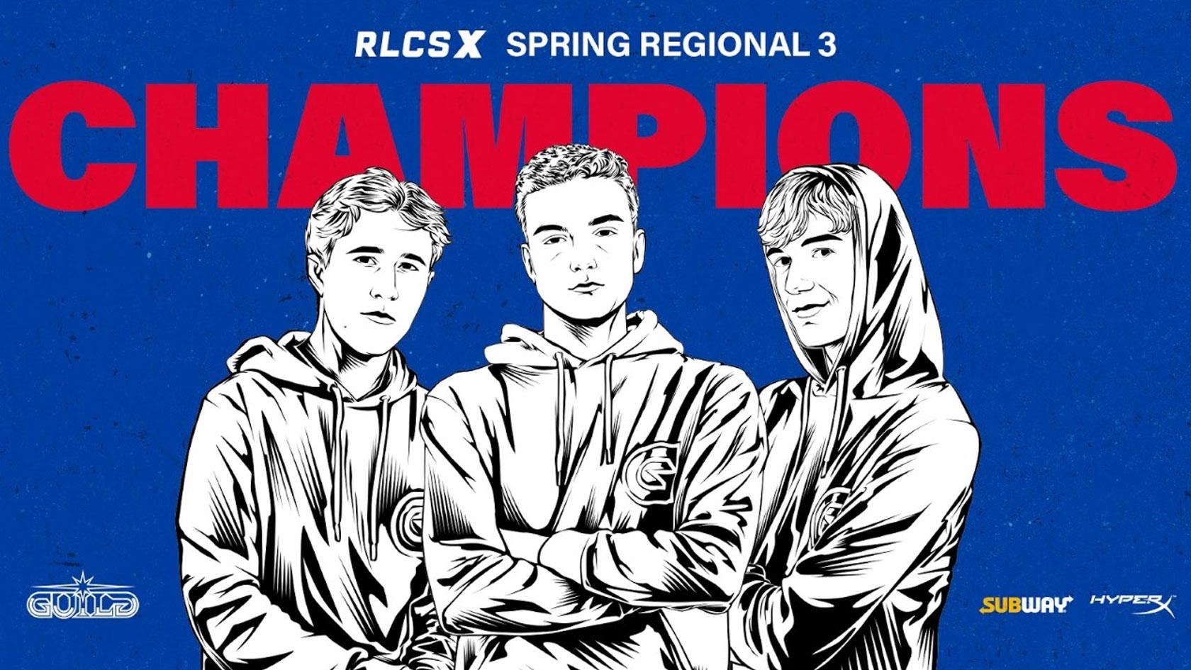 "Rocket League Champs Thomas ""ThO"" Binkhorst, Joseph ""Noly"" Kidd and David ""Deevo"" Morrow"