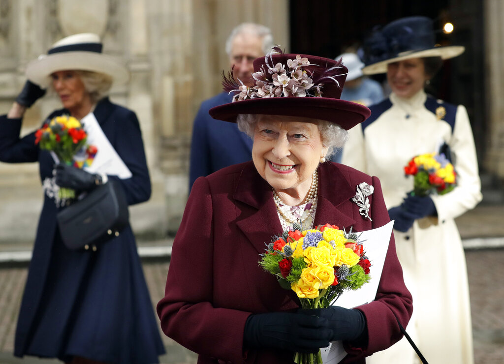Britain's Queen Elizabeth II leaves after attending the Commonwealth Service at Westminster Abbey in London in 2018. Now that the Royal Family has said farewell to Prince Philip, attention will turn to Queen Elizabeth II's 95th birthday on Wednesday, April 21, 2021 and, in coming months, the celebrations marking her 70 years on the throne. This combination of events is reminding the United Kingdom that the reign of the queen, the only monarch most of her subjects have ever known, is finite. (AP Photo/Kirsty Wigglesworth, file)