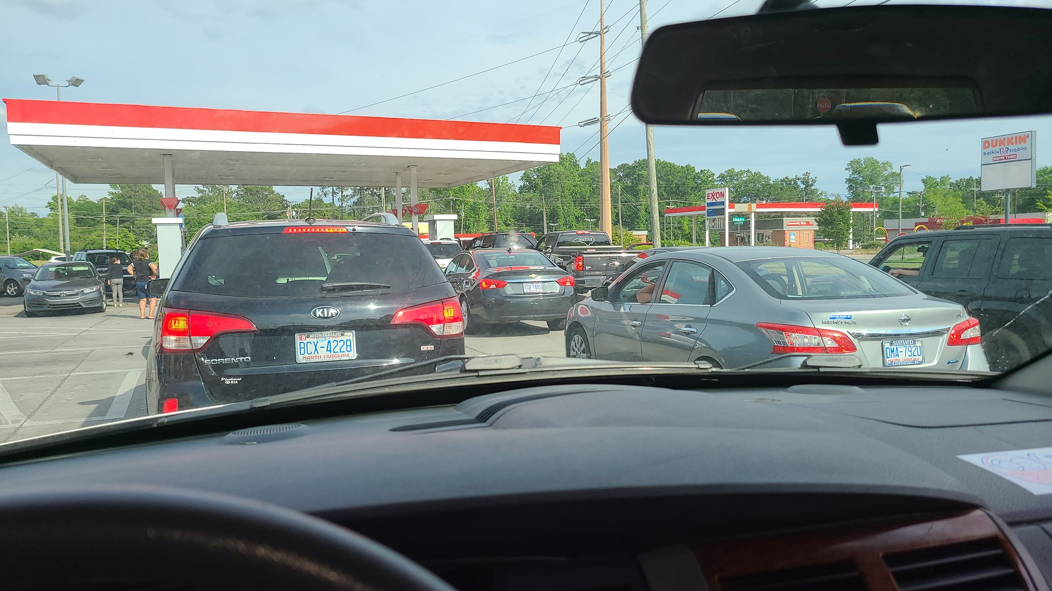 Long lines at the gas pump