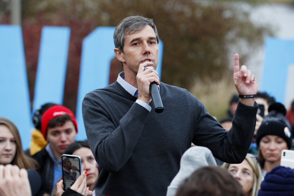 Beto O'Rourke speaks to supporters before the Iowa Democratic Party's Liberty and Justice Celebration in Des Moines, Iowa in 2019. Three years after becoming Democrats' breakout star out of Texas, and a year after a short-lived presidential run, O'Roukre is again weighing another campaign, this time for Texas governor. (AP Photo/Charlie Neibergall, File)