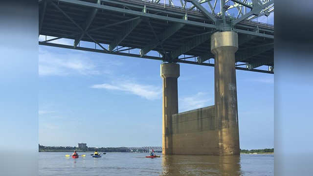In this 2016 photo provided by Barry W. Moore, the Interstate 40 bridge is seen from the Mississippi River, between Arkansas and Tennessee. A cracked steel beam, seen above, prompted the indefinite closure of the bridge. (Barry W. Moore via AP)