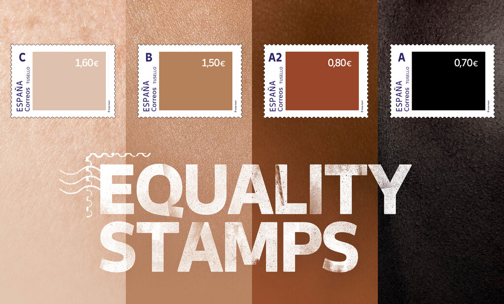 """This photo released by Spain's postal service Correos shows a set of four stamps to signify different skin-colored tones. The darker the stamp, the lower the price. The postal service calls them """"Equality Stamps"""" and launched them on the first anniversary of George Floyd's murder in Minneapolis. It said the stamps """"reflect an unfair and painful reality that shouldn't be allowed."""" The state-owned company's goal was to """"shine a light on racial inequality and promote diversity, inclusion and equal rights."""" But critics are accusing it of having a tin ear for racial issues and misreading Black sentiment. (Correos via AP)"""
