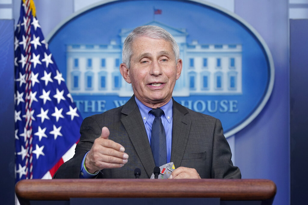 Dr. Anthony Fauci, director of the National Institute of Allergy and Infectious Diseases, speaks during a press briefing at the White House, in Washington. Fauci is participating along with soprano Renee Fleming, the CEOs of Pfizer and Moderna and the lead guitarist of Aerosmith among others in a unique three-day Vatican conference starting Thursday, May 6, 2021, on COVID-19, other global health threats and how science, solidarity and spirituality can address them. (AP Photo/Patrick Semansky, file)