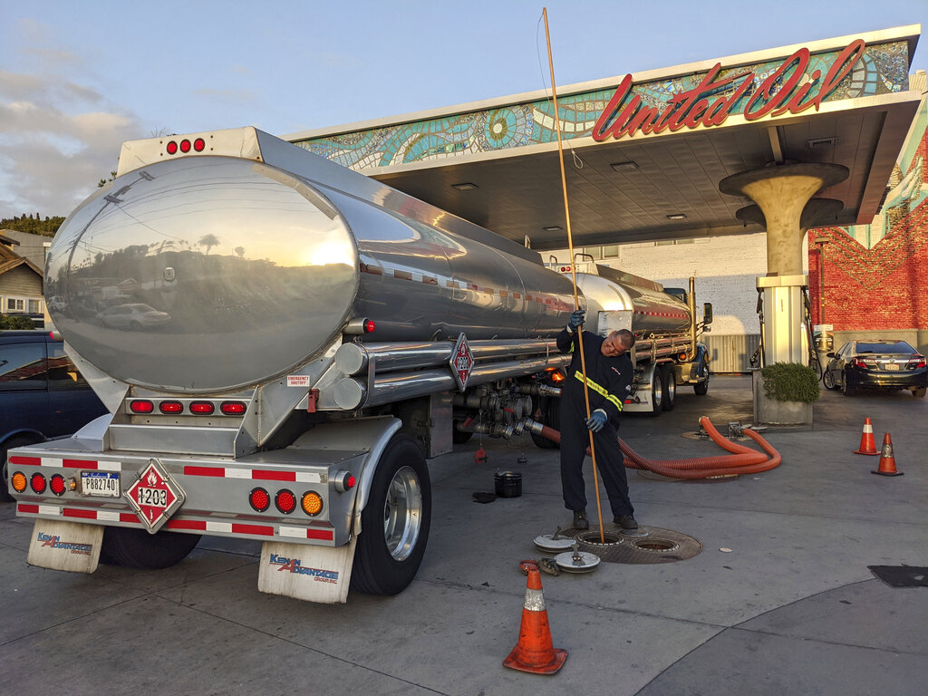A fuel truck driver checks the gasoline tank level at a United Oil gas station in Sunset Blvd., in Los Angeles. The average U.S. price of regular-grade gasoline jumped 8 cents over the past two weeks, to $3.10 per gallon. (AP Photo/Damian Dovarganes)