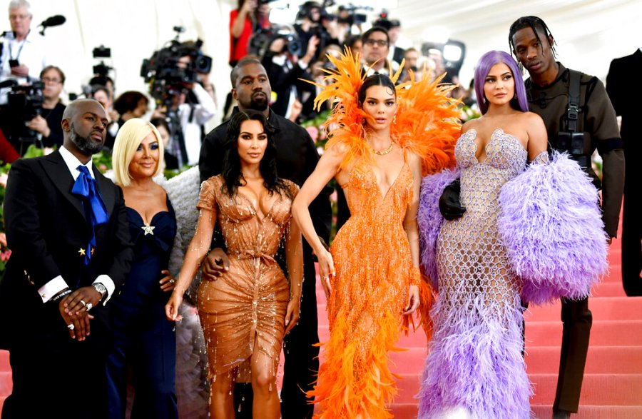 """Corey Gamble, Kris Jenner, Kim Kardashian, Kanye West, Kendall Jenner, Kylie Jenner and Travis Scott attend The Metropolitan Museum of Art's Costume Institute benefit gala in New York on May 6, 2019. Their reality series """"Keeping Up with the Kardashians"""" will end the series with their 20th season. (Photo by Charles Sykes/Invision/AP, File)"""