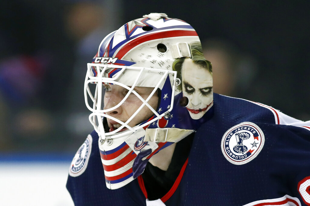 Columbus Blue Jackets goaltender Matiss Kivlenieks during the second period of a game in New York in 2020. (AP Photo/Kathy Willens, File)