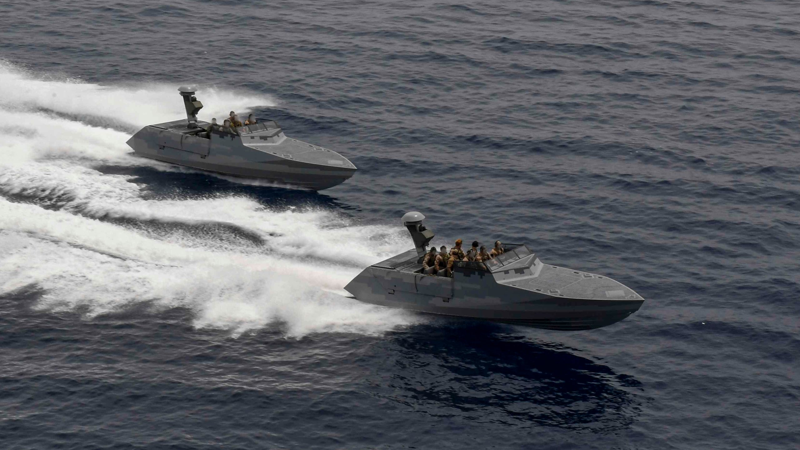 """Two combatant craft assault crafts (CCA) assigned to Special Boat Team TWENTY perform a high-speed pass alongside the Expeditionary Sea Base USS Hershel """"Woody"""" Williams in the Mediterranean Sea on May 26, 2021. (U.S. Navy photo by Mass Communication Specialist 2nd Class Eric Coffer)"""