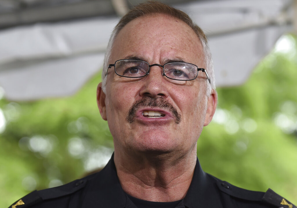 Montgomery County Police Chief J. Thomas Manger speaks at a news conferencein 2015, Manger, who has run large departments in Maryland and Virginia, has been selected as chief of the U.S. Capitol Police. Manger will take over in the aftermath of the Jan. 6 insurrection, in which pro-Trump rioters stormed the building in a violent rage, disrupting the certification of Joe Biden's presidential win. (AP Photo/Molly Riley, File)