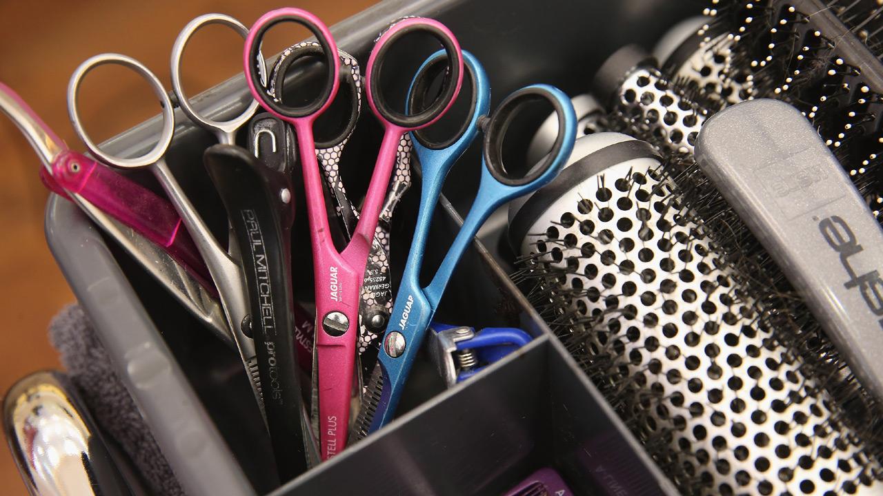 Salon scissors, brushes