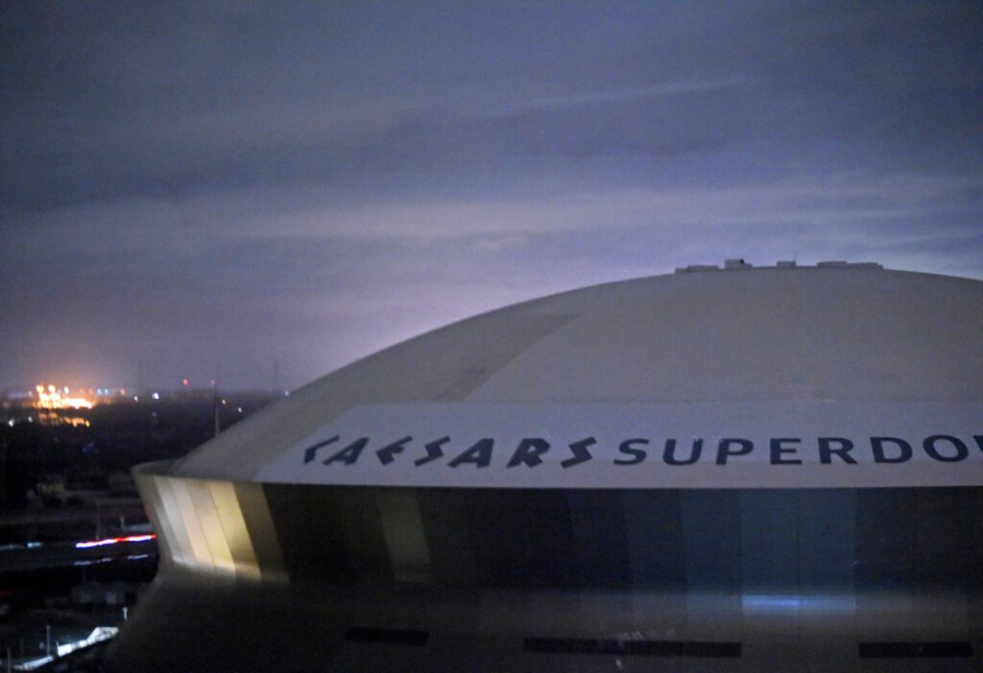The Caesars Superdome is shown in New Orleans, La., early Monday. (Max Becherer/The Advocate via AP)
