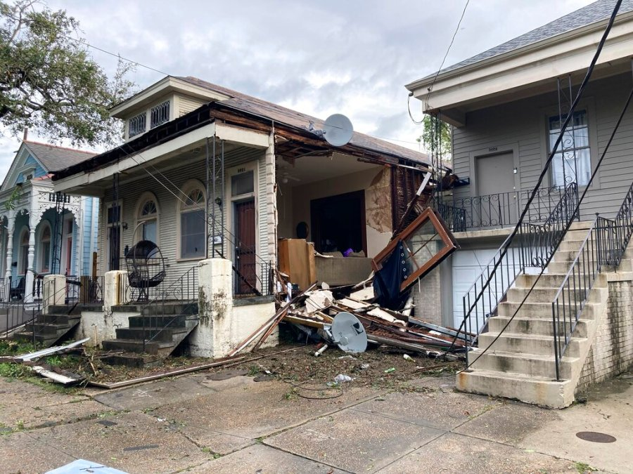 A house in the mid city neighborhood of New Orleans where Chris Atkins and his wife were when the sheet rock came off during Hurricane Ida Sunday. (AP Photo/Rebecca Santana)