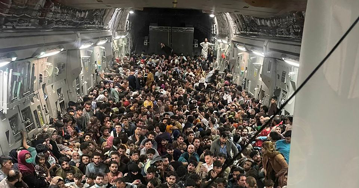 Photo from the inside of Reach 871, a U.S. Air Force C-17 flown from Kabul to Qatar on Aug. 15. (Courtesy US Defense Department via Defense One)