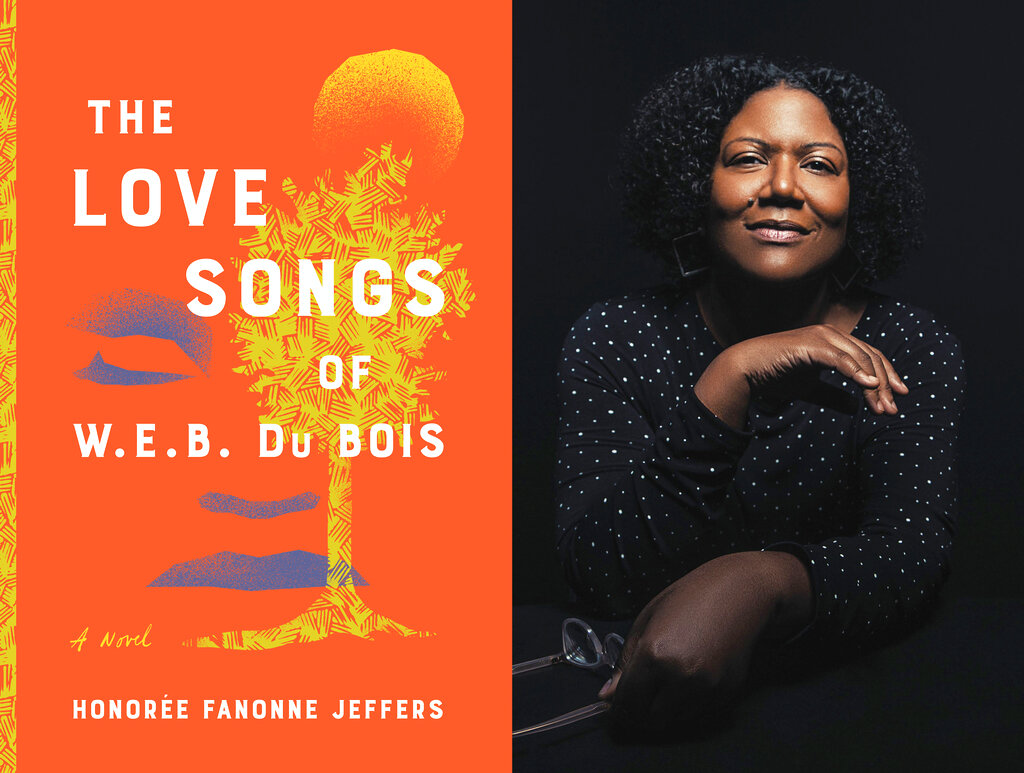 """This combination of photos released by Harper shows cover art for """"The Love Songs of W.E.B. DuBois,"""" left, and a portrait of author Honorée Fanonne Jeffers.The book is an Oprah Winfrey book club pick. (Harper via AP, left, and Sydney A. Foster/Harper via AP)"""