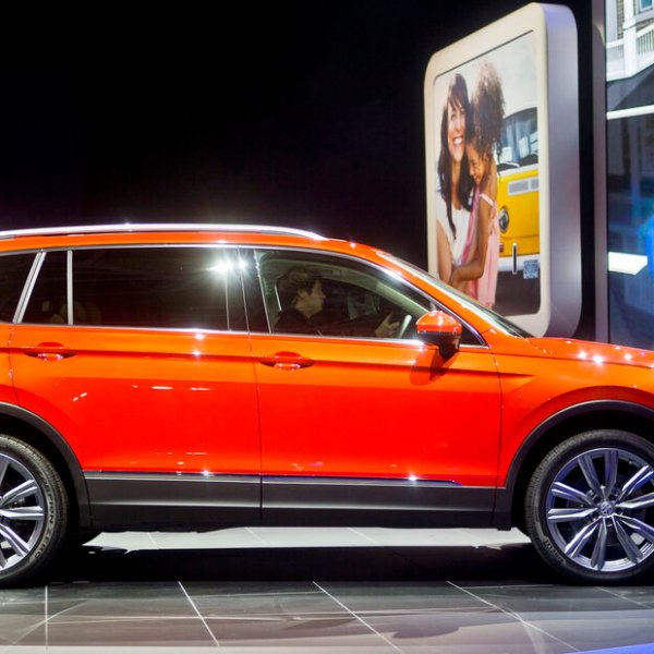 A Volkswagen Tiguan on display at the North American International Auto Show in Detroit. (AP Photo/Tony Ding)